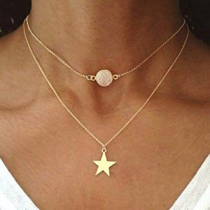 Gold Star Rose Quartz Layered Necklace
